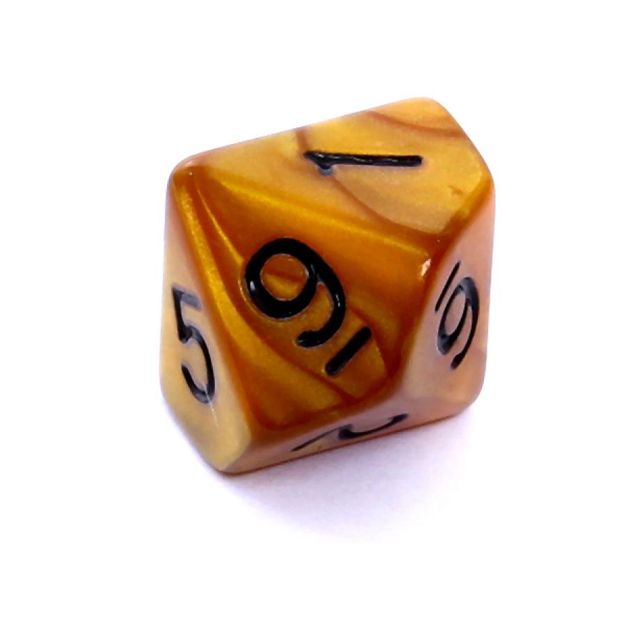 Kość REBEL perłowa 10 Ścian - Cyfry - Ciemnożółta (czarne cyfry)