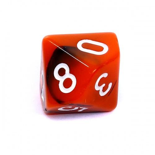 Kość REBEL dwukolorowa 10 Ścian - Cyfry - Pomarańczowo-czarna
