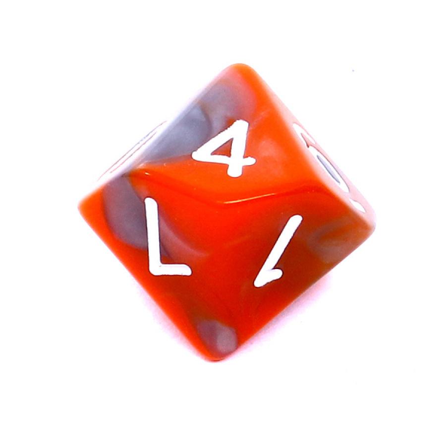 Kość REBEL dwukolorowa 10 Ścian - Cyfry - Pomarańczowo-szara