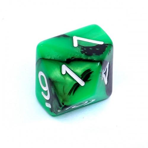 Kość REBEL dwukolorowa 10 Ścian - Cyfry - Zielono-czarna