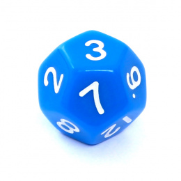 Kość REBEL matowa 12 Ścian - Cyfry - Niebieska