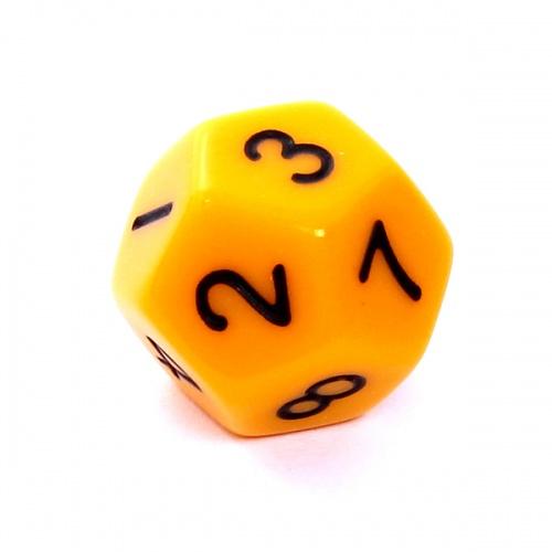 Kość REBEL matowa 12 Ścian - Cyfry - Żółta