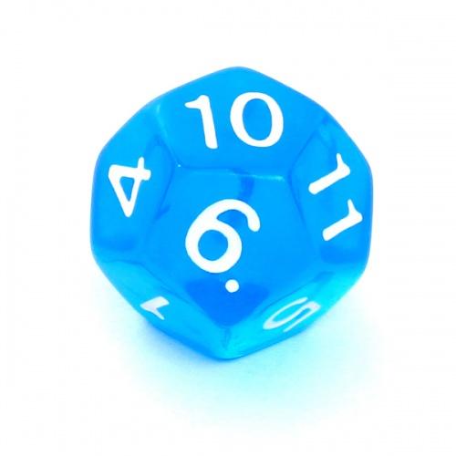 Kość REBEL kryształowa 12 Ścian - Cyfry - Niebieska