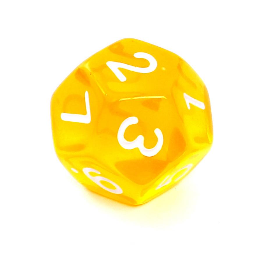 Kość REBEL kryształowa 12 Ścian - Cyfry - Żółta