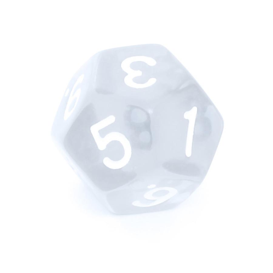 Kość REBEL kryształowa 12 Ścian - Cyfry - Przezroczysta
