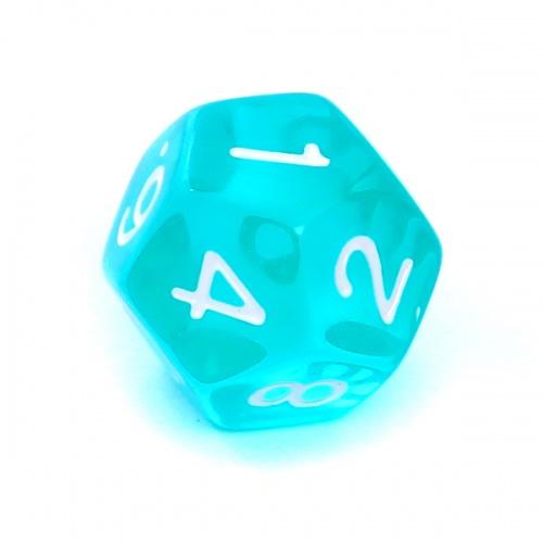 Kość REBEL kryształowa 12 Ścian - Cyfry - Błękitna