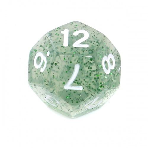 Kość REBEL brokatowa 12 Ścian - Cyfry - Zielona