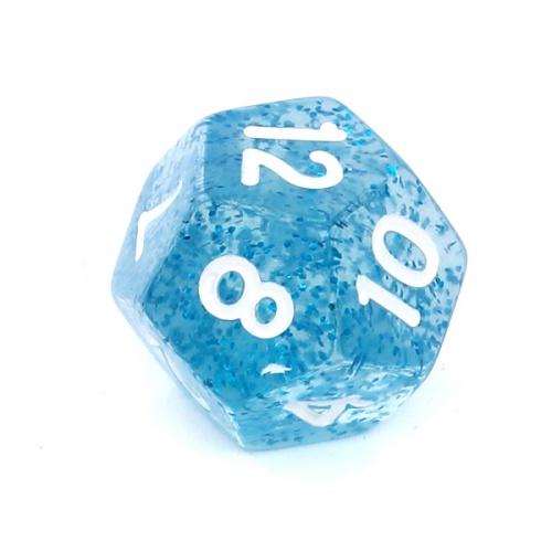 Kość REBEL brokatowa 12 Ścian - Cyfry - Niebieska