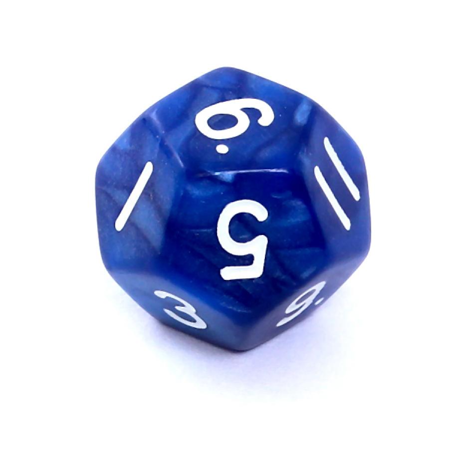 Kość REBEL perłowa 12 Ścian - Cyfry - Ciemnoniebieska