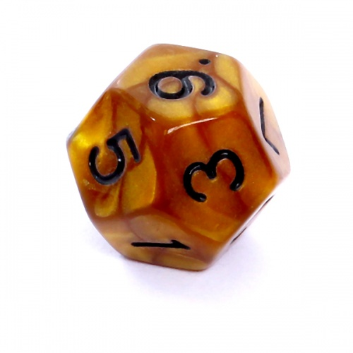 Kość REBEL perłowa 12 Ścian - Cyfry - Ciemnożółta (czarne cyfry)