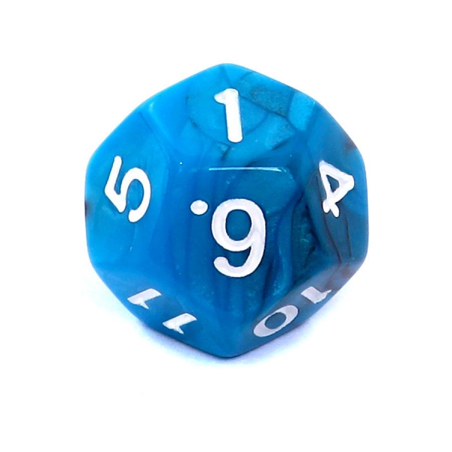 Kość REBEL dwukolorowa 12 Ścian - Cyfry - Czarno-niebieska