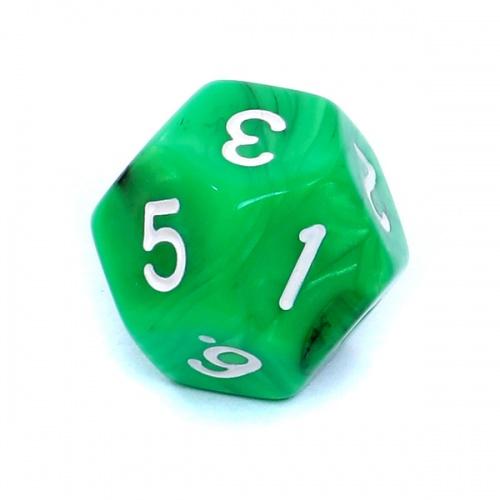Kość REBEL dwukolorowa 12 Ścian - Cyfry - Zielono-czarna