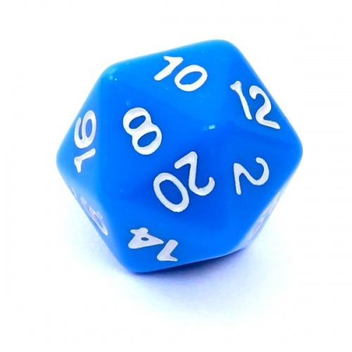 Kość REBEL matowa 20 Ścian - Cyfry - Niebieska