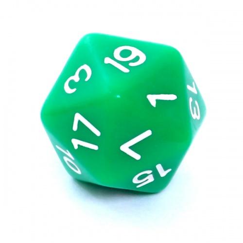 Kość REBEL matowa 20 Ścian - Cyfry - Zielona
