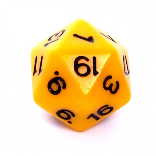 Kość REBEL matowa 20 Ścian - Cyfry - Żółta