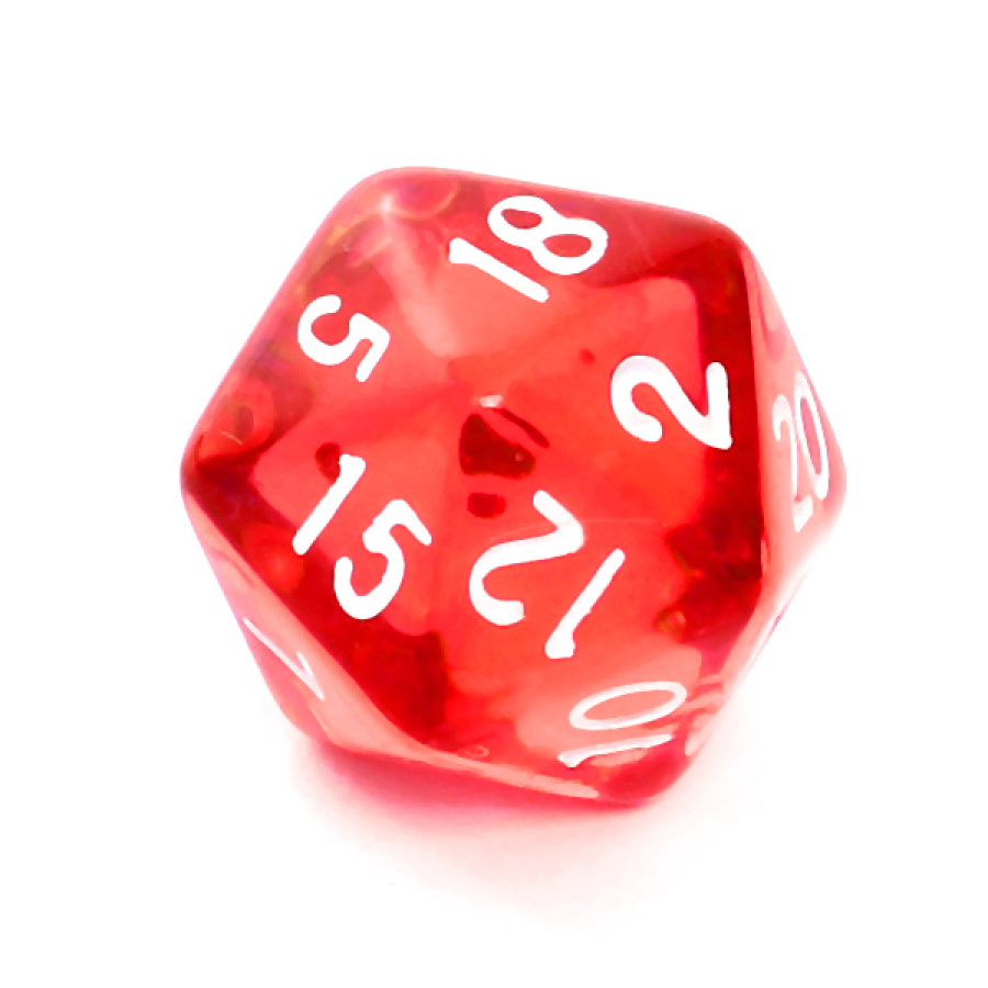 Kość REBEL kryształowa 20 Ścian - Cyfry - Czerwona