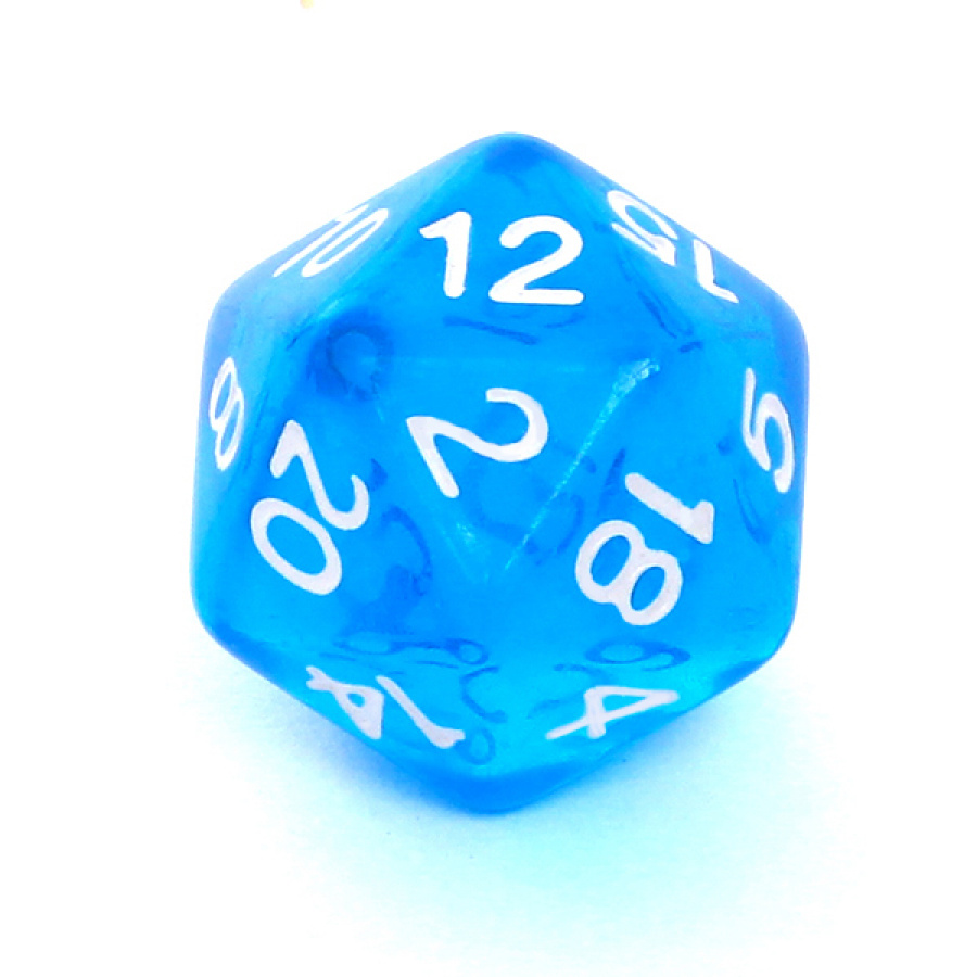 Kość REBEL kryształowa 20 Ścian - Cyfry - Niebieska