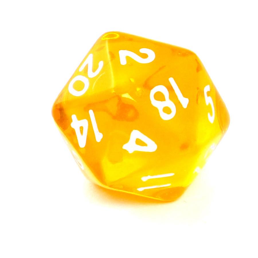 Kość REBEL kryształowa 20 Ścian - Cyfry - Żółta