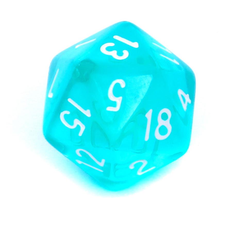 Kość REBEL kryształowa 20 Ścian - Cyfry - Błękitna