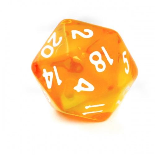 Kość REBEL kryształowa 20 Ścian - Cyfry - Pomarańczowa