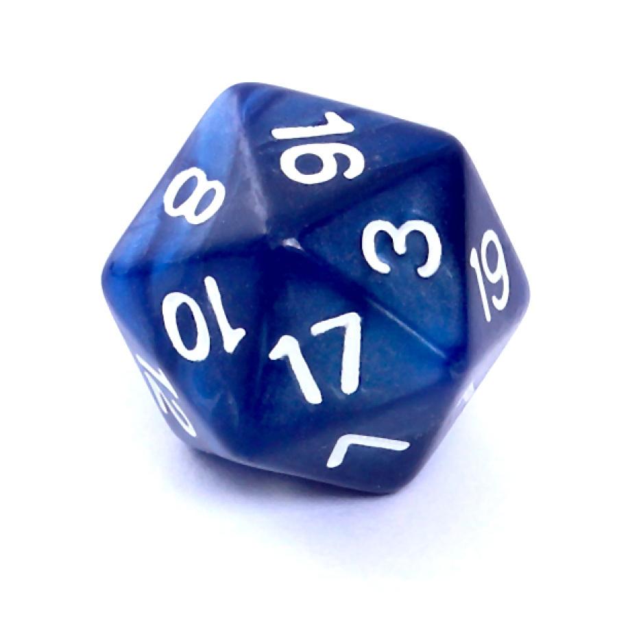 Kość REBEL perłowa 20 Ścian - Cyfry - Ciemnoniebieska