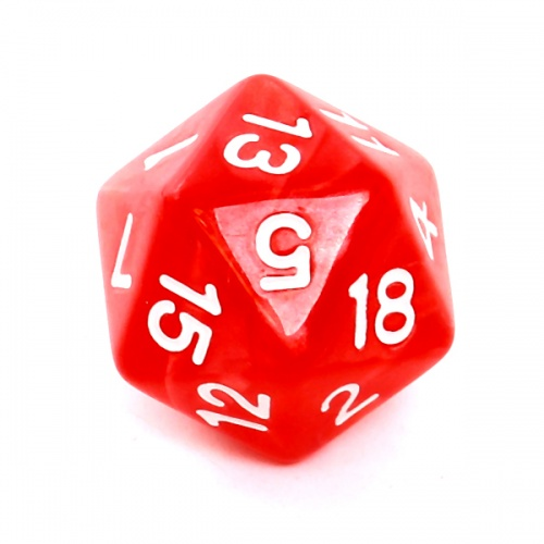 Kość REBEL perłowa 20 Ścian - Cyfry - Czerwona