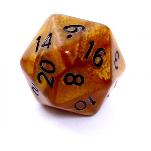 Kość REBEL perłowa 20 Ścian - Cyfry - Ciemnożółta (czarne cyfry)