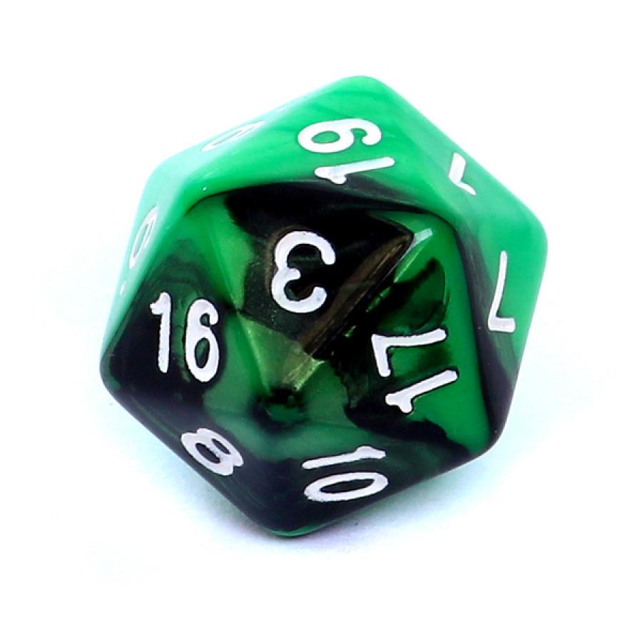 Kość REBEL dwukolorowa 20 Ścian - Cyfry - Zielono-czarna
