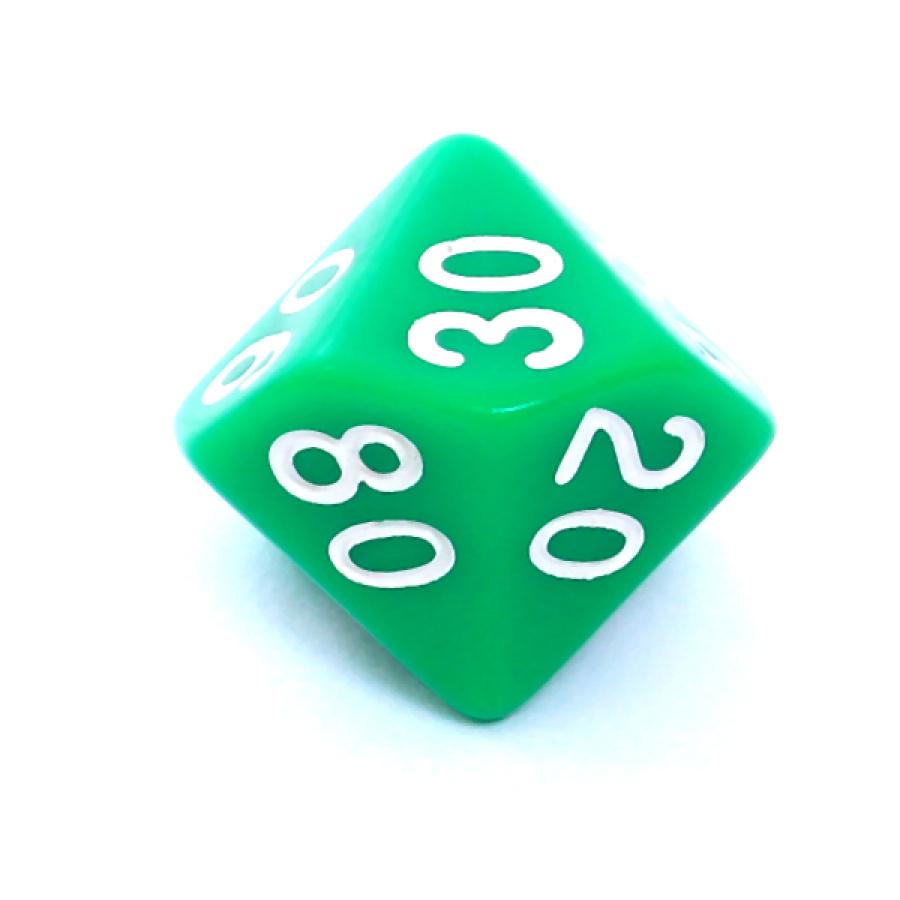 Kość REBEL matowa 10 Ścian (setka) - Cyfry - Zielona
