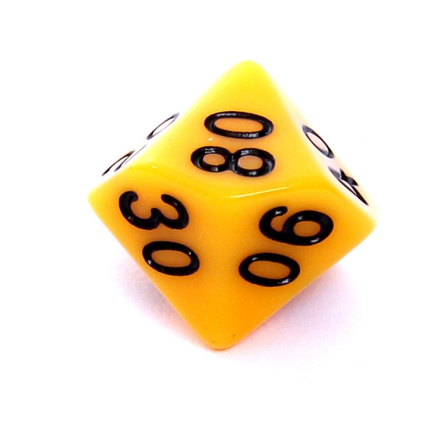 Kość REBEL matowa 10 Ścian (setka) - Cyfry - Żółta