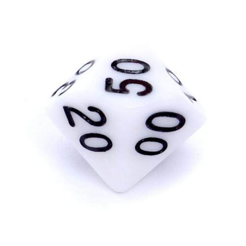 Kość REBEL matowa 10 Ścian (setka) - Cyfry - Biała