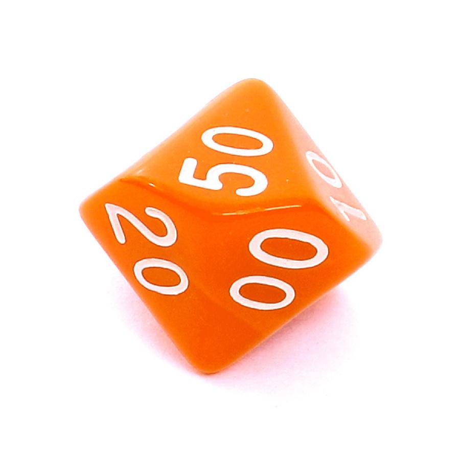 Kość REBEL matowa 10 Ścian (setka) - Cyfry - Pomarańczowa