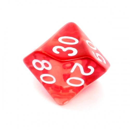Kość REBEL kryształowa 10 Ścian (setka) - Cyfry - Czerwona