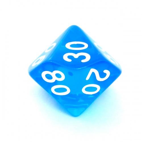 Kość REBEL kryształowa 10 Ścian (setka) - Cyfry - Niebieska