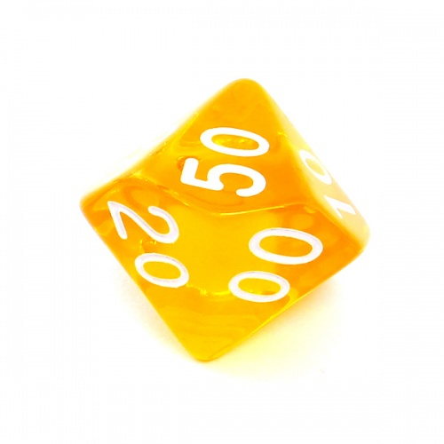 Kość REBEL kryształowa 10 Ścian (setka) - Cyfry - Żółta