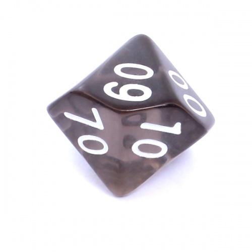 Kość REBEL kryształowa 10 Ścian (setka) - Cyfry - Czarna