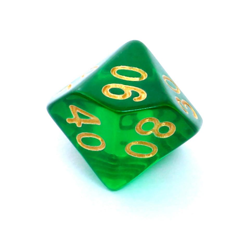 Kość REBEL kryształowa 10 Ścian (setka) - Cyfry - Ciemnozielona