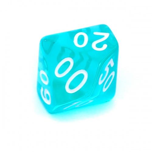 Kość REBEL kryształowa 10 Ścian (setka) - Cyfry - Błękitna