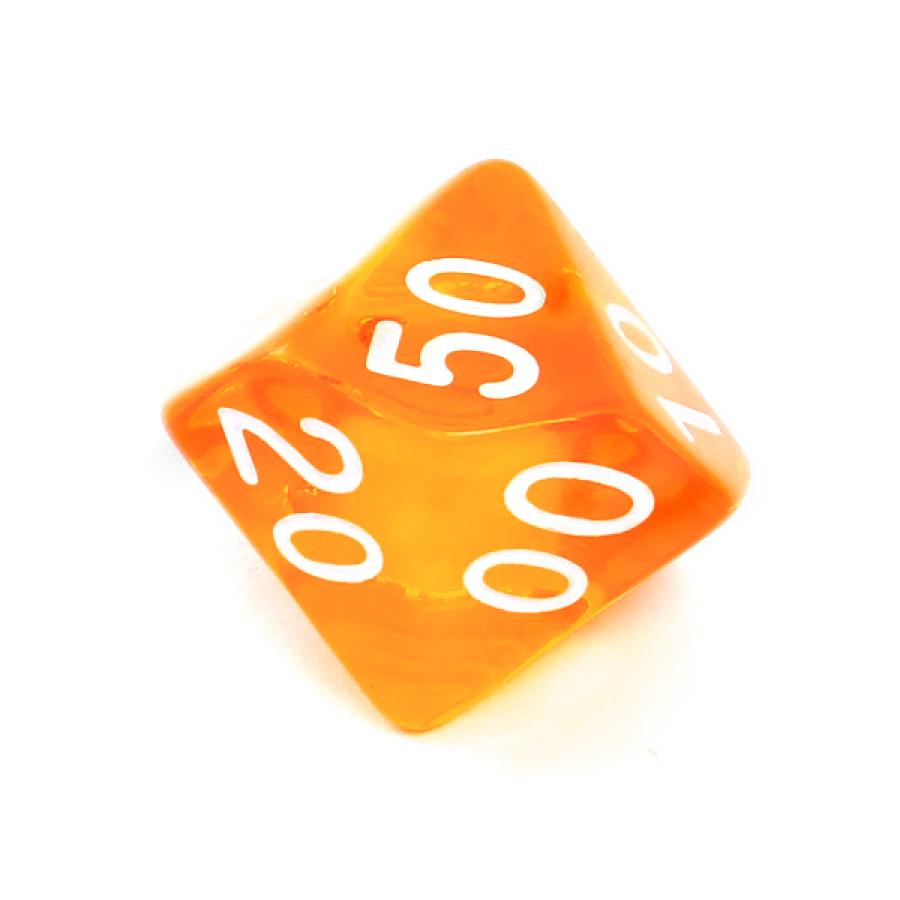 Kość REBEL kryształowa 10 Ścian (setka) - Cyfry - Pomarańczowa