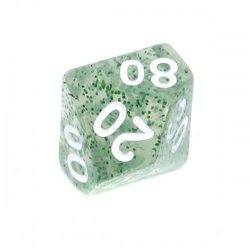 Kość REBEL brokatowa 10 Ścian (setka) - Cyfry - Zielona