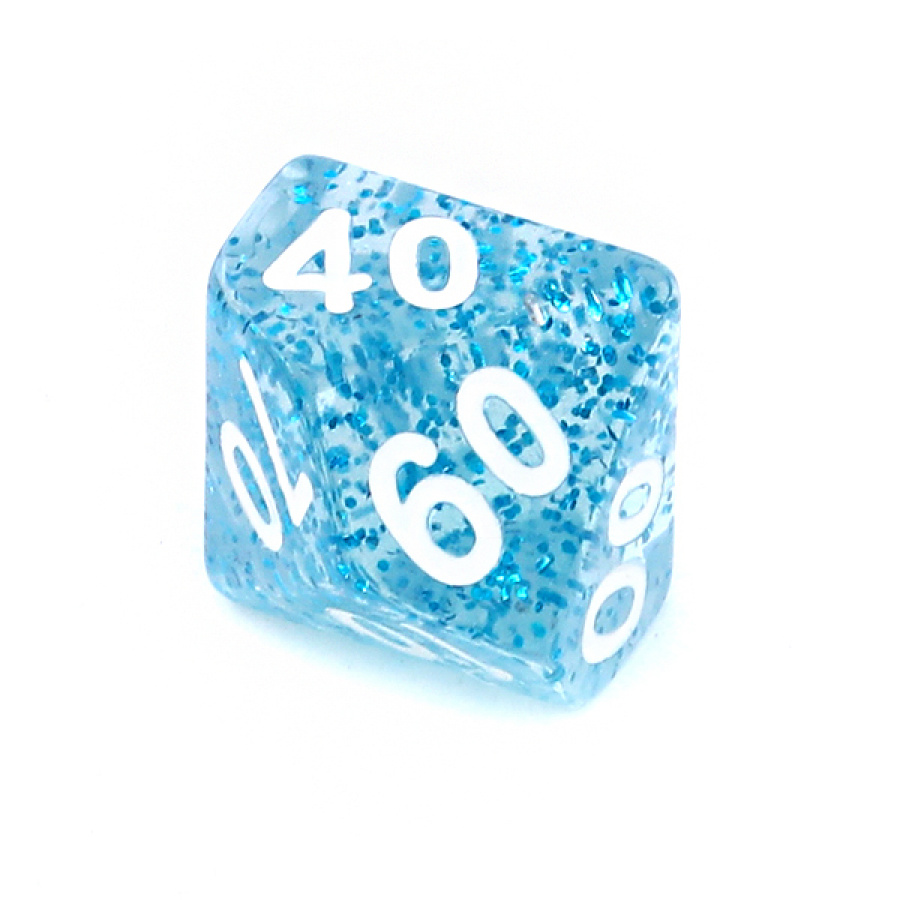 Kość REBEL brokatowa 10 Ścian (setka) - Cyfry - Niebieska