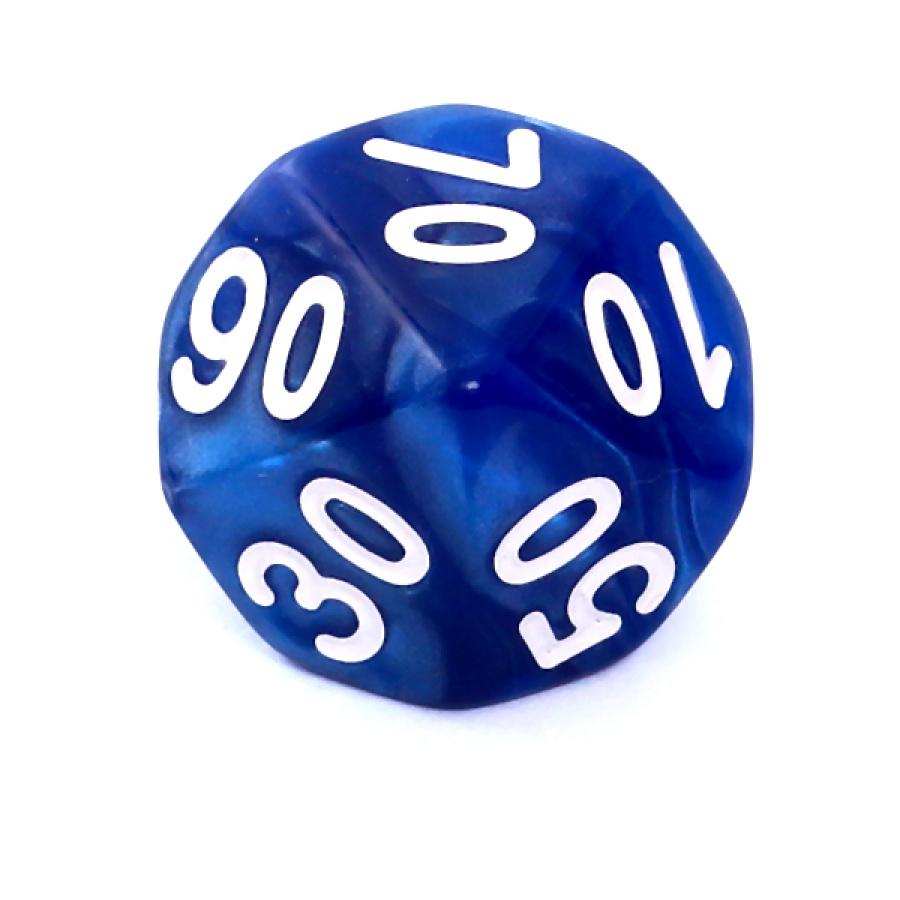 Kość REBEL perłowa 10 Ścian (setka) - Cyfry - Ciemnoniebieska