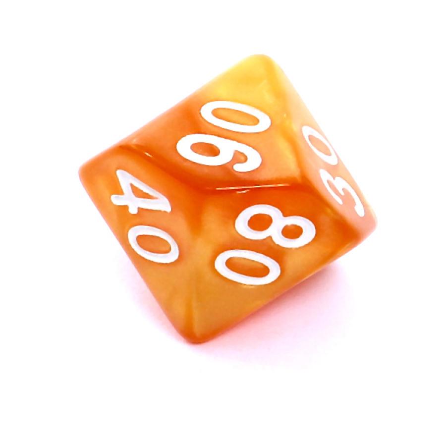 Kość REBEL perłowa 10 Ścian (setka) - Cyfry - Ciemnożółta (białe cyfry)