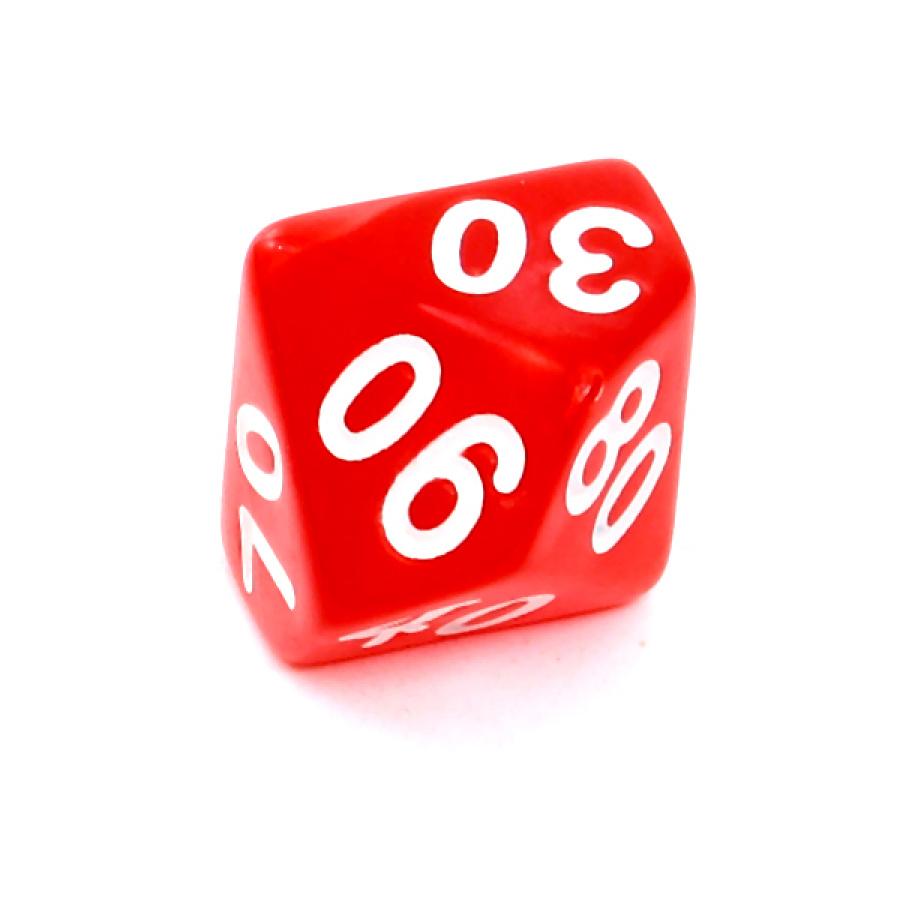 Kość REBEL perłowa 10 Ścian (setka) - Cyfry - Czerwona