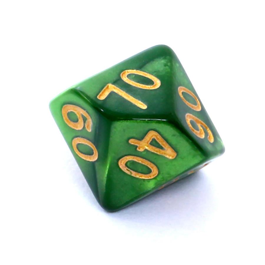 Kość REBEL perłowa 10 Ścian (setka) - Cyfry - Zielona