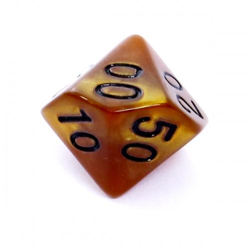 Kość REBEL perłowa 10 Ścian (setka) - Cyfry - Ciemnożółta (czarne cyfry)