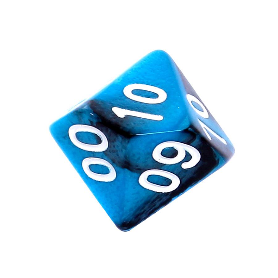 Kość REBEL dwukolorowa 10 Ścian (setka) - Cyfry - Czarno-niebieska