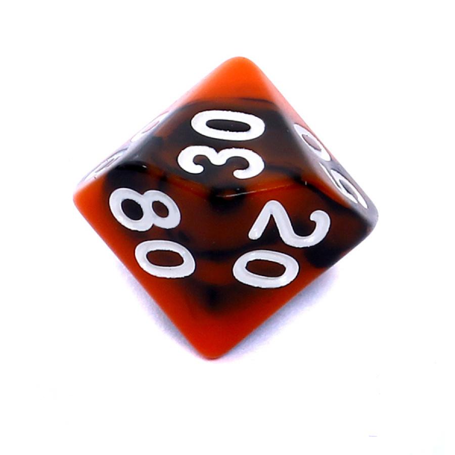 Kość REBEL dwukolorowa 10 Ścian (setka) - Cyfry - Pomarańczowo-czarna