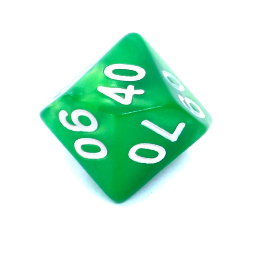 Kość REBEL dwukolorowa 10 Ścian (setka) - Cyfry - Zielono-żółta