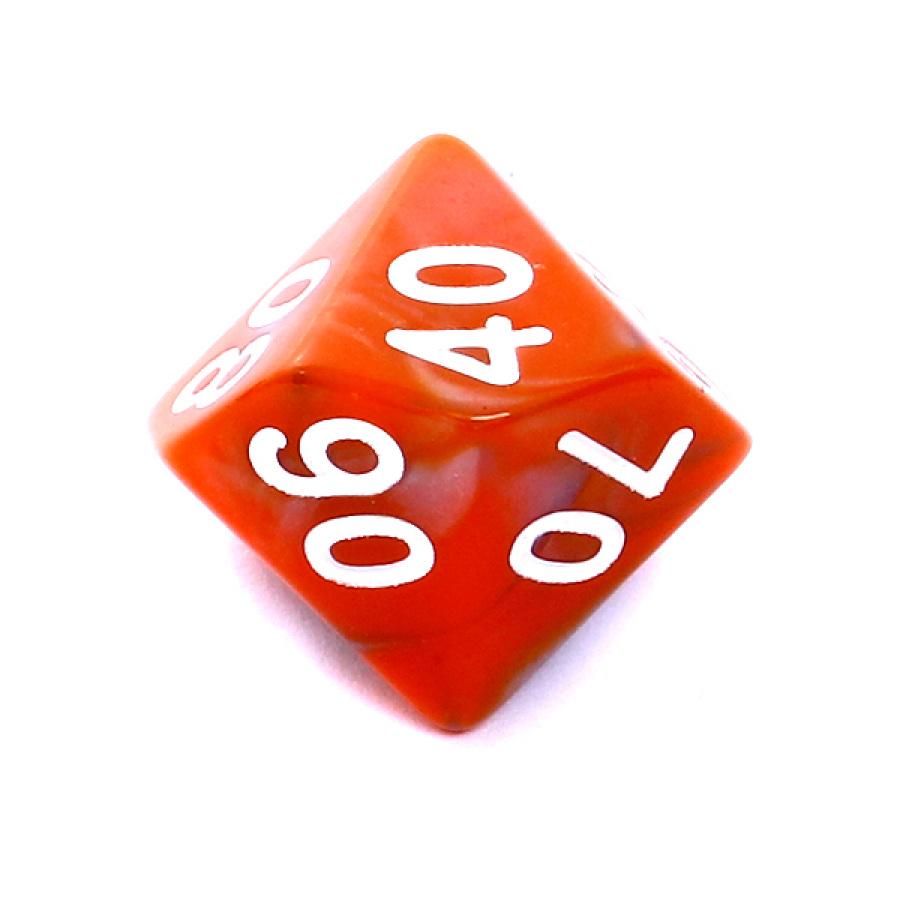 Kość REBEL dwukolorowa 10 Ścian (setka) - Cyfry - Pomarańczowo-szara